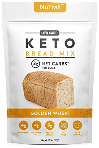 NuTrail™ - Keto Bread Mix - Only 2g Net Carbs per slice - Makes 1 Large Loaf - Low Carb Food - Easy Baking (13.3 oz) (1 Count)