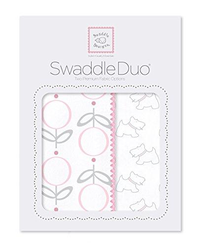 SwaddleDesigns Mousseline d'emmaillotage couvertures/Premium Flanelle de coton Rose Little Doggie, Lot de 2