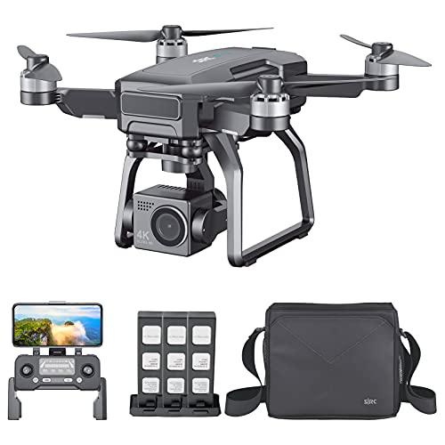Staright SJRC F7 4K PRO RC Drone con Fotocamera 4K 3-Axis Gimbal Meccanico 5GWIFI FPV Motore Brushless GPS Ritorno Automatico Max 3 km Distanza di Controllo con 3 batterie e Borsa a Tracolla
