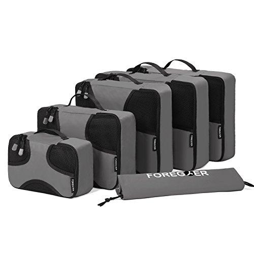 FOREGOER 6-teiliges Set Kleidertaschen Packtaschen Kofferorganizer Reisetaschen mit Wäschebeutel - Grau