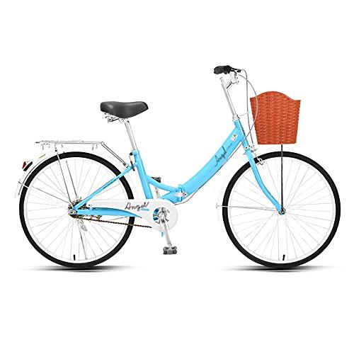 Bicicleta, Bicicleta PortáTil de 24 Pulgadas, Bicicleta de Ocio Urbana de una Sola Velocidad, Marco Plegable de Poca Envergadura, Adecuado Tanto para Hombres Como para Mujeres/C / 168x90c