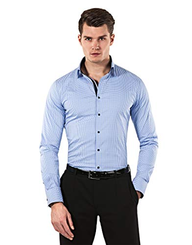 Vincenzo Boretti Herren-Hemd Body-Fit (besonders Slim-fit tailliert) kariert bügelleicht - Männer lang-arm Hemden für Anzug Krawatte Business Hochzeit Freizeit blau 37-38