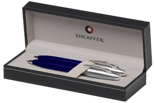 Sheaffer Gift Collection Series Ball Point and Mechanical Pencils Set, Blue Translucent Finish with Satin Chrome Plate Trim (SH/9308-9)
