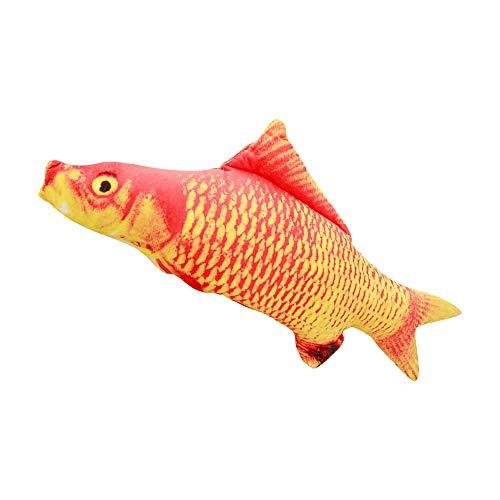 PetMeows 3D pez de Peluche Gato Juguete Interactivo Regalo pez Juguete Almohada muñeca simulación pez Juguete Mascota-Carpa roja_60cm