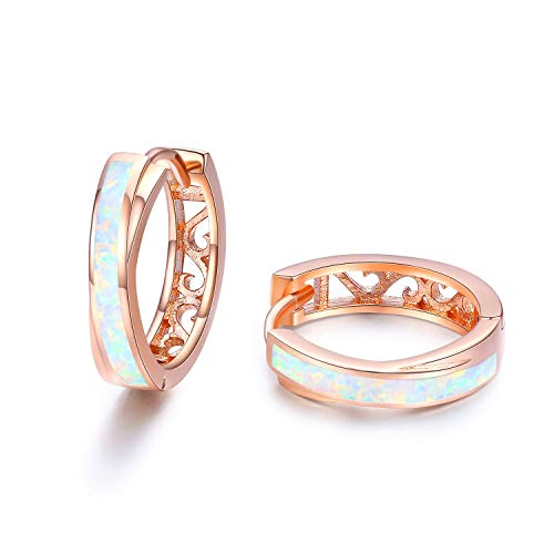Synthetic Opal Earrings Huggies Earrings Small Hoop Earrings 18k Rose Gold Plated Hypoallergenic Earrings for Women Gifts for Her Christmas Valentine's Day Birthday Anniversary