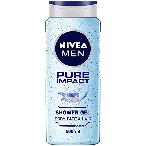 NIVEA Men Pure Impact Shower Gel, 500ml, Hair, Face & Body Wash
