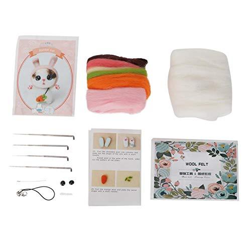 Kit de inicio de fieltro de aguja Kit de fieltro de lana para principiantes Juego de materiales de artesanía con aguja perforada hecha a mano(Conejo)