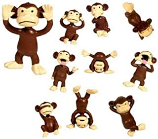 Monkeys 24 Figures Tiny Plastic Small Little Brown Funny Miniature Figurines Party Favors Bags Small Pack Animal Toy Lot