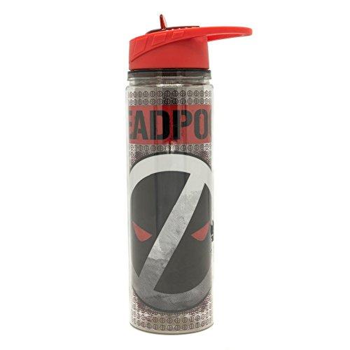Silver Buffalo MU11178L - Botella de agua Tritan con logotipo de Deadpool, doble pared, 453 ml