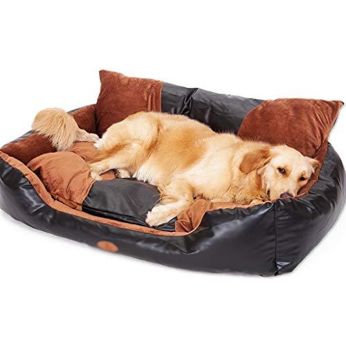 Casa para Mascotas Camas para perros de PU Lavable grande con cubierta con cremallera, lecho de mascotas de perros medianos y grandes, cojín de sofá de nido de mascotas antideslizantes Cama para Masco