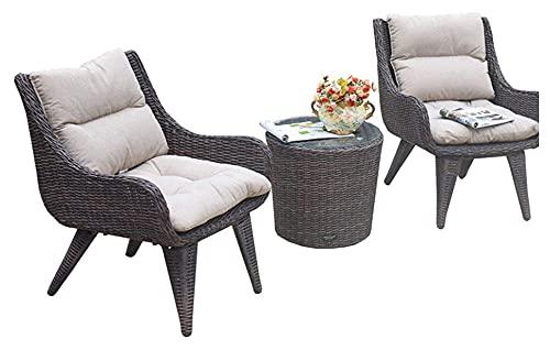 WANGQW Juego de sillas de Mesa de conversación de Patio, Combinación de balcón al Aire Libre Silla de ratán de 3 Piezas Conjuntos de balcón al Aire Libre Simple Mesa de Ocio y Silla Patio