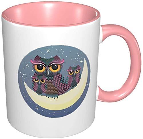 Taza de café de porcelana con diseño de búhos en la luna creciente y colorido interior con mango de cerámica para cappuccino, té, cacao y cereal rosa, 11 oz