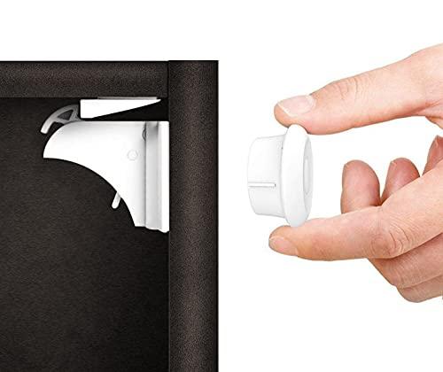 Norjews Baby Sicherheit Magnetisches Schrankschloss(10 Schlösser + 2 Schlüssel) | zum Kindersicherung Schloss für Schränke und Schubladen | Unsichtbare | Klebeband | Ohne Bohren oder Werkzeug |