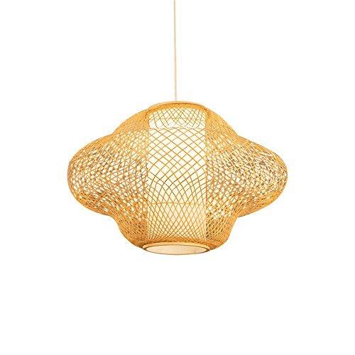 Bamboe kroonluchter hotel plafondlamp restaurant hangende draadlamp thee verlichting creatieve hangende rotan kunst enkel E27 ingenieur licht 45 * 32 cm lamp hangend touw 150 cm instelbaar (grootte: 45 * 32 cm)