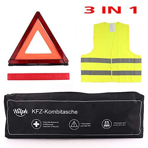 NEWGO 3 in 1 Erste Hilfe Set Auto KFZ Verbandskasten Kombitasche mit Warnweste, Warndreieck, DIN13164