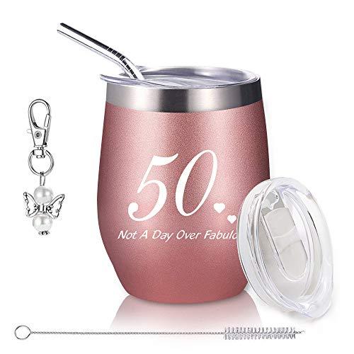 50th Geburtstags Geschenke für Frauen, 12 oz Weinbecher Edelstahl Doppelwandiges Vakuumisoliert Weingläser mit Deckel und Strohhalmpinsel, Reisekaffeetasse für Wein, Getränke, Champagner, Cocktails