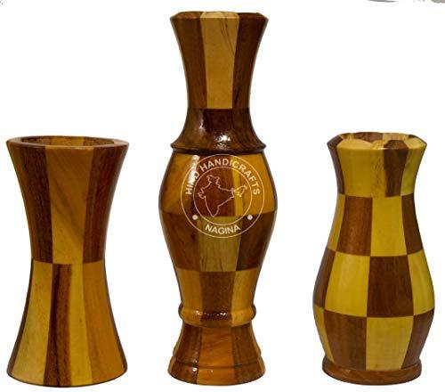 Hind Handicrafts - Jarrón de madera pintado a mano para dec