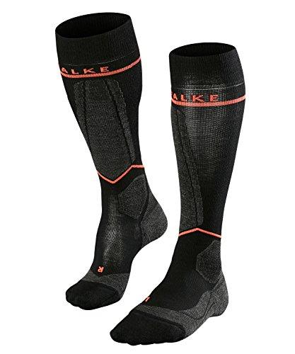 FALKE Damen Kompression Skisocken SK Energizing Wool, Kompressionsstrümpfe mit Merinowolle, Antiblasen Thermosocken, 1 er Pack, Schwarz, Größe: 39-42