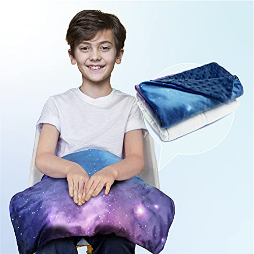 Solfres Small Weighted Lap Pad Blanket Throw for Kids Boys Teens 20in x 23in 5 Lbs - Sleep Therapy Plush Travel Size with Removable Cover, Galaxy Space Stars, Washable (Purple Blue/Navy Blue)