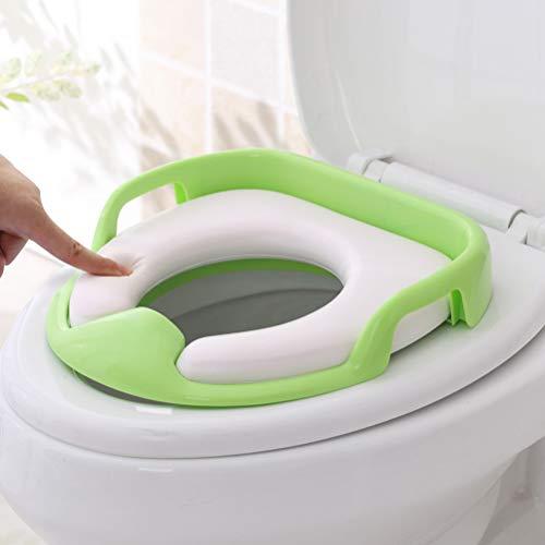 CaCaCook PU weiche Toilette Sitzring, Familie Kind Toilettensitz, Toilettensitz Training Toilettensitz für Babytopf Sitz mit abnehmbarem Kissen(Grün)