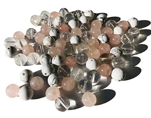 Rhinestone Paradise Ca. 100 stuks edelsteenparels 8 mm rozenkwarts howlit bergkristal sieraden knutselen edelsteen kralen sieraadkralen
