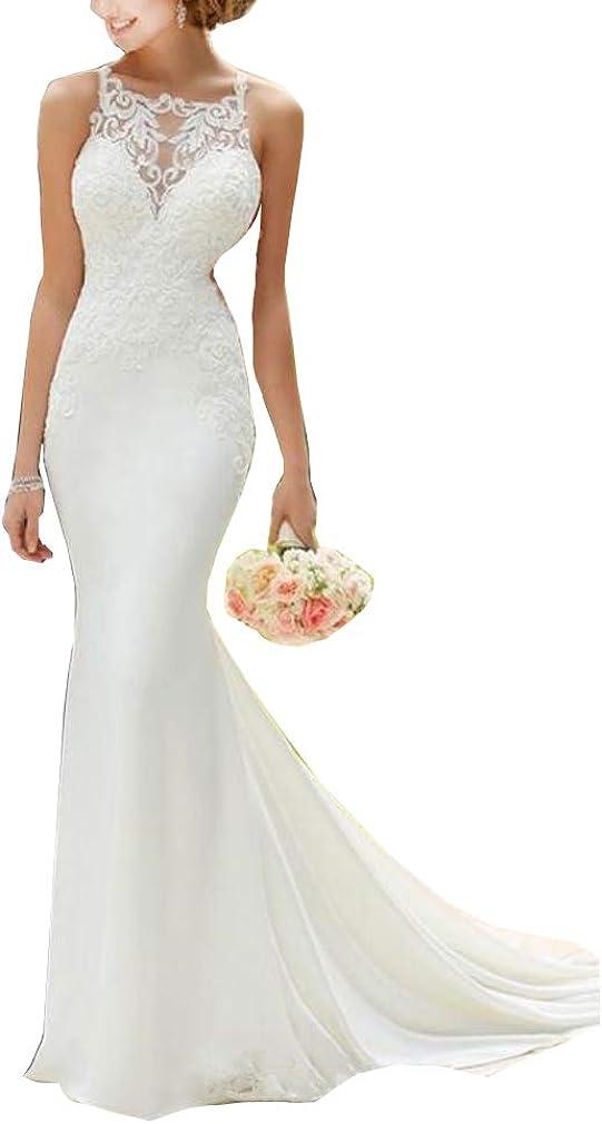 Melisa Women's Beach Bridal Gowns Train Lace Corset Mermaid Wedding Dresses for Bride 2021 Plus Size