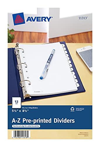 Avery 11313 Preprinted Tab Dividers, 12-Tab, 8 1/2 x 5 1/2, White