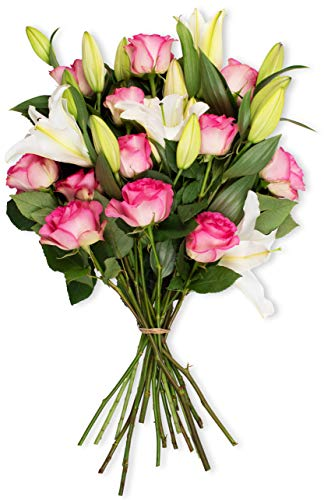 Benchmark Bouquets Light Pink Roses and White Oriental Lilies, No Vase (Fresh Cut Flowers)