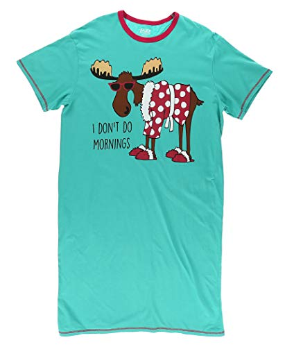 LazyOne Damen I Don't Do Mornings Moose Nachthemd 2XL