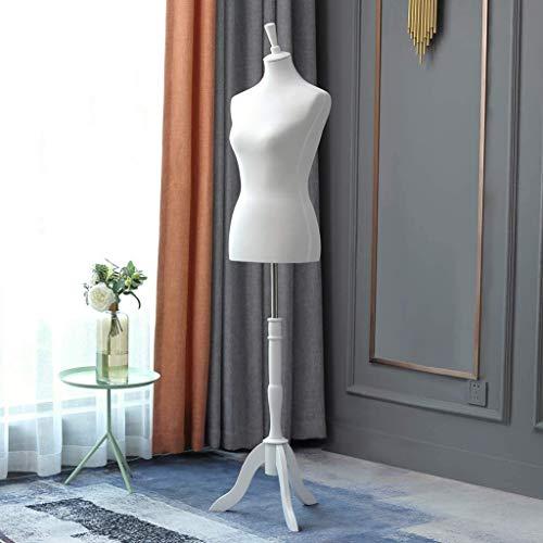 Loywe Manichino da sartoria, busto Torso da Donna per vetrine, con altezza regolabile Base in legno Gr. 36/38 Bianca LW1016W