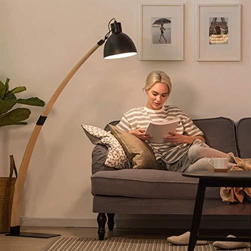 GUOSHUCHE Lámpara de pie de Iluminación Suelo sólido Simple Verticales de Madera Modernos de pie luminarias for Sala de Estar Dormitorio Estudio Sofá Incluye Bombilla, luz Negro (Color : Black)