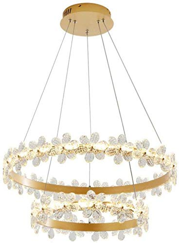 GOHHK Lámparas Colgantes, lámpara araña LED Redonda Lujo con Anillo Flores Lámpara Colgante Gota Cristal Lámpara Colgante Decorativa Luz Techo Iluminación Restaurante Hotel