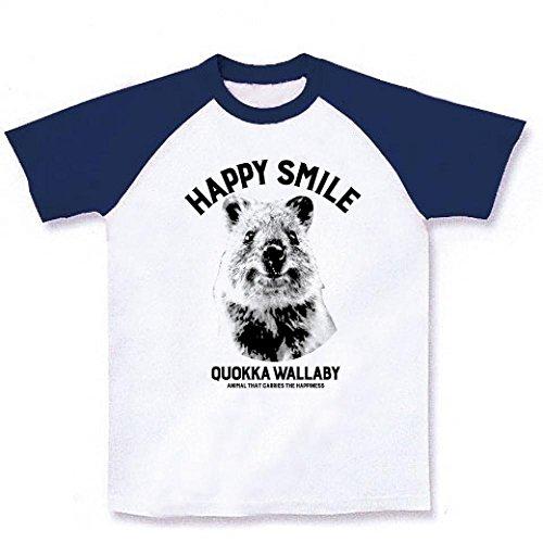 (クラブティー) ClubT クアッカワラビー HAPPY SMILE Design ラグランTシャツ(ホワイト×ネイビー) M ホワイト×ネイビー