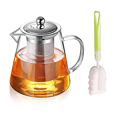 Glass Teapot with Infuser,Heat Resistant Glass Teapot with Removable Infuser, Borosilicate Clear Glass Tea Pots for Loose Leaf Tea and Blooming Tea Cook teapot 32oz