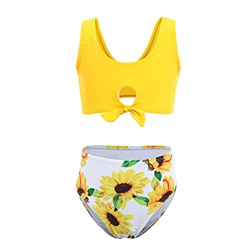 IBAKOM Bikini para niños y niñas, traje de baño de dos piezas, estampado de girasol, tankini, traje de baño de verano para la playa Amarillo 3 12-13 Años