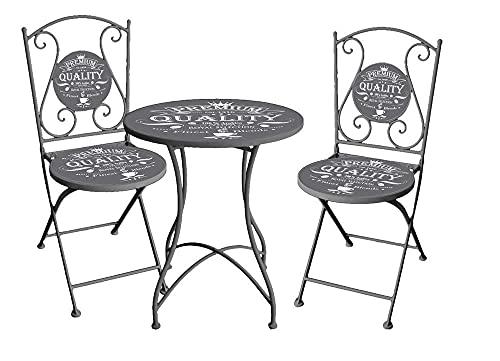 Spetebo Bistroset in antraciet - 2x klapstoel + klaptafel - metaal ijzer balkon meubelset zitgroep bistrostoel tafel tuin