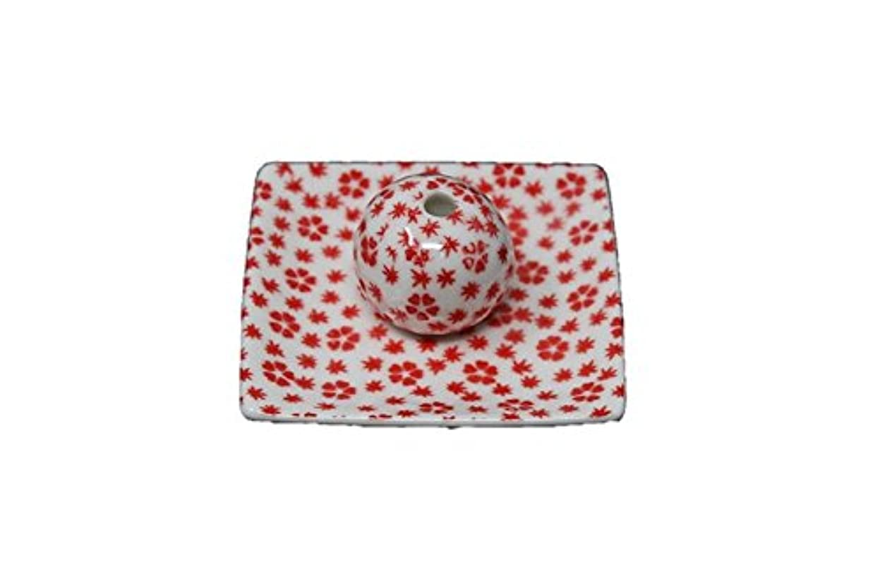 詳細な納屋厚さ桜小紋 赤 小角皿 お香立て 陶器 ACSWEBSHOPオリジナル