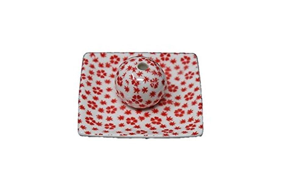 最小化するブランク照らす桜小紋 赤 小角皿 お香立て 陶器 ACSWEBSHOPオリジナル