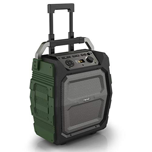 Mobiele Bluetooth luidspreker, 50 watt speaker, met sterke bas, draagbare geluidsinstallatie met USB, Micro SD, AUX-ingang en microfoon, 15 uur batterij, muziekbox met karaoke-input, groen