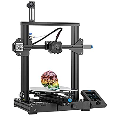 Creality 3D Ender-3 V2 Upgraded DIY 3D Printer Kit 220x220x250mm Print Size Ultra-silent Mainboard, Carborundum Glass Platform, Integrated Compact Size, Mean Well Power Supply