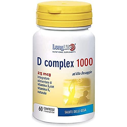 D Complex 1000 LongLife | Integratore di Vitamina D3 e K2 naturale | Salute ossea, Sistema immunitario e funzione muscolare | 60 cpr | Doping Free, Gluten Free & Vegetarian