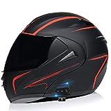 Cascos de Moto Bluetooth Modulares Con Doble Visera ECE Homologado Casco Integrado Motocross Racing Micrófono de Auricular Con Altavoz Incorporado Para Respuesta Automática Y,M
