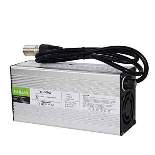 54.6V 6A XLR Power Supply Adapter Charger for 48V Lithium Li-ion Battery Pack