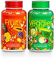 Balance Of Nature Fruit and Vegetable Supplements - 90 Fruit and 90 Veggie Capsules - Green and Red Superfood, Better...