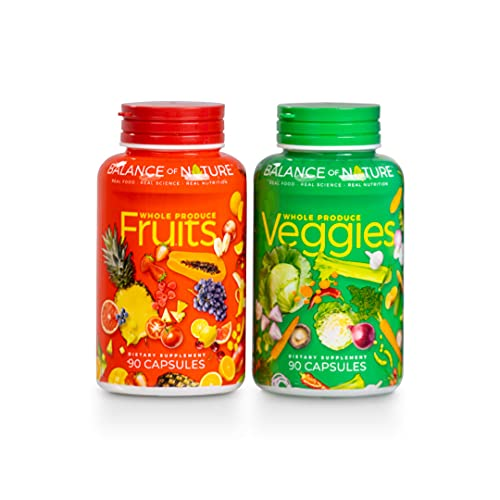 Balance Of Nature Fruit and Vegetable Supplements - 90 Fruit and 90 Veggie Capsules - Green and Red Superfood, Better Than A Multivitamin, Vegan, No Fillers or Extracts, 100% Natural Whole Food
