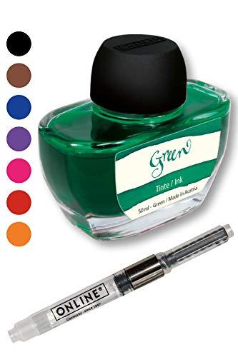 Tintenglas 50 ml inkl. Konverter von Online, Tintenfass mit hochwertiger Tinte, nachfüllbarer Konverter für Standard Füller, Schreibfarbe in grün