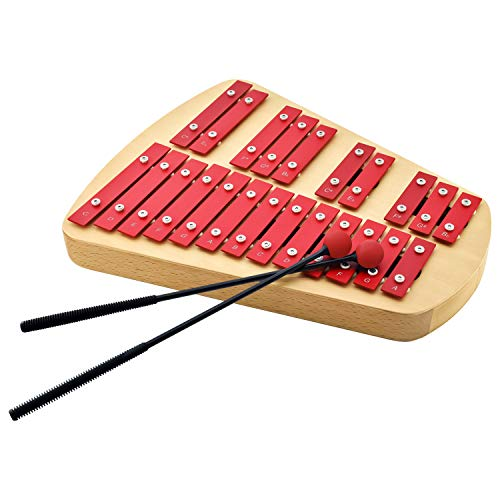 MUSICUBE 23 Metal Keys Soprano Glockenspiel for Adults & Kids Professional Well-Tuned Xylophone with 2 Rubber Beaters Educational Orff Percussion Instrument for Home & Classroom Gift Choice (C5-A6)