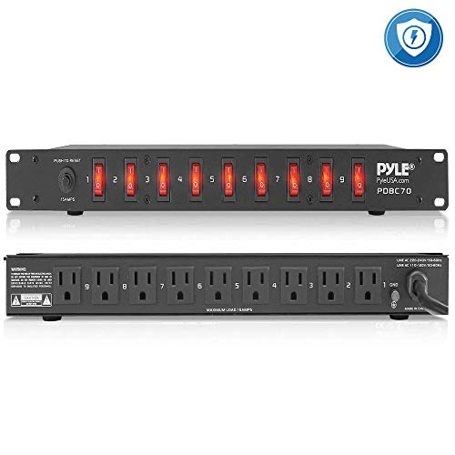PDU Power Strip Surge Protector - 150 Joule 9 Outlet Strips Surge Protector Heavy Duty Electric Extension Cord Strip - 1U Rack Mount Protection Power Outlet Strip W/ 9 Front Switch - PylePro PDBC70