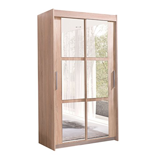 Kleiderschrank Karo 100, Elegantes Schlafzimmerschrank mit Spiegel, 100 x 216 x 60 cm, Modernes Schwebetürenschrank, Schiebetür, Schlafzimmer (Sonoma/Spiegel)