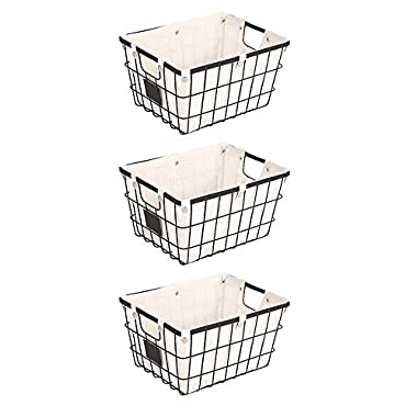 Storage baskets metal Baskets for shelves Closet baskets and bins Baskets for storage cubes Baskets for storage bathroom - Small Wire Basket with Chalkboard - Black (3, Black)